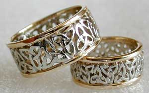yellow and white 14kt gold celtic bands
